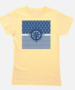 Nautical Blue Anchor Girl's Tee