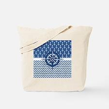 Nautical Blue Anchor Tote Bag