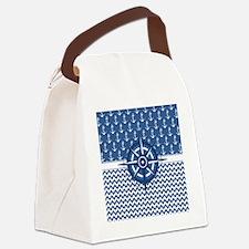 Nautical Blue Anchor Canvas Lunch Bag