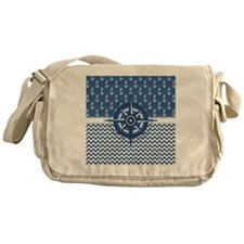 Nautical Blue Anchor Messenger Bag