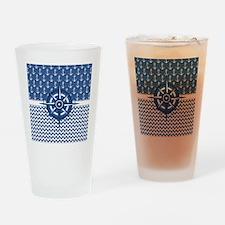 Nautical Blue Anchor Drinking Glass