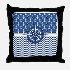 Nautical Blue Anchor Throw Pillow