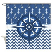 Cute Ship nautical compass Shower Curtain