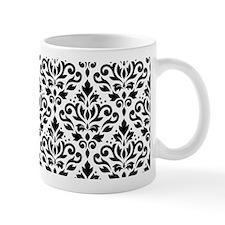 Scroll Damask Blk On White Pattern Mug Mugs