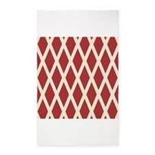 Ivory Red Bold Diamond Argyle 3'x5' Area Rug