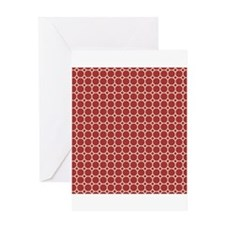 Red White Hexagon Polka Dots Greeting Cards