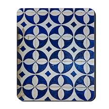 Azulejo azul Mousepad