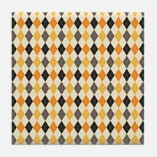 Halloween Argyle Pattern Tile Coaster