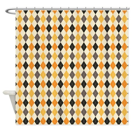Halloween Argyle Pattern Shower Curtain By PinkInkArt2