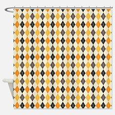 Halloween Argyle Pattern Shower Curtain