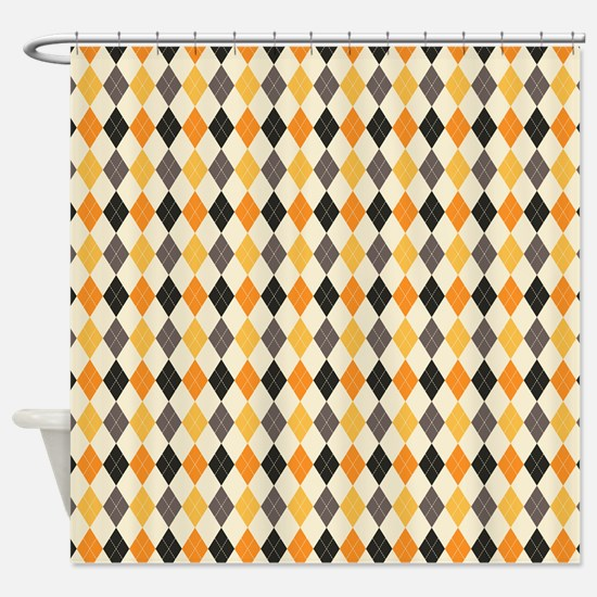 Halloween Argyle Pattern Shower Curtain