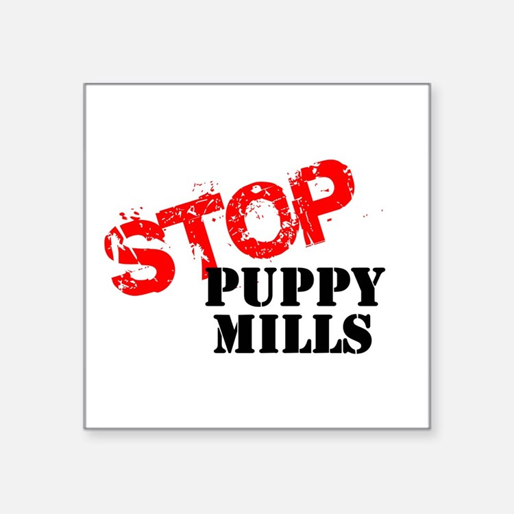 "Cute Puppy mills Square Sticker 3"" x 3"""