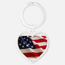 Unique Usa flag Heart Keychain