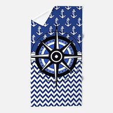 Cute Nautical sailing compass rose Beach Towel