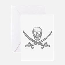 Glassy Skull and Cross Swords Greeting Cards