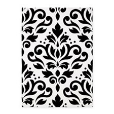 Scroll Damask Blk On White Lg Ptn 5'x7'area Rug