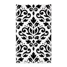 Scroll Damask Blk On White Lg Ptn 3'x5' Ar