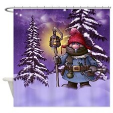 Gnome Christmas Scenery, Snowing Shower Curtain