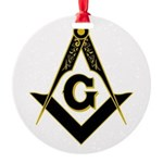 Masonic Black Round Ornament