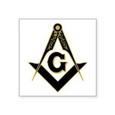"Masonic Black Square Sticker 3"" x 3"""