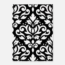 Scroll Damask White On Blk Lg Ptn 5'x7'are