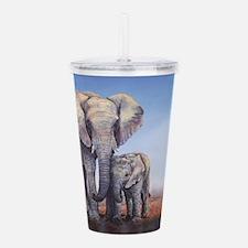 Elephants Mom Baby Acrylic Double-wall Tumbler
