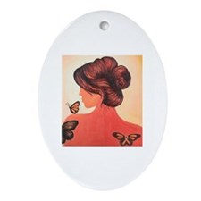 MS  Orange Ribbon Woman Oval Ornament