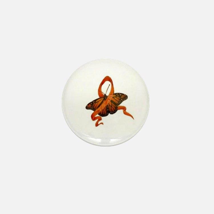 Cute Orange ribbon butterfly Mini Button