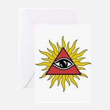 Mystic Eye With Rays Card Greeting Cards