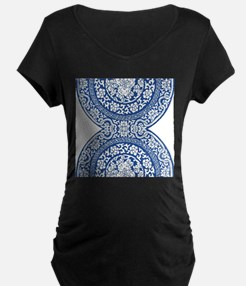 modern blue floral abstract pattern Maternity T-Sh