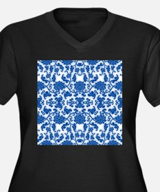 modern blue damask floral abstract pattern Plus Si