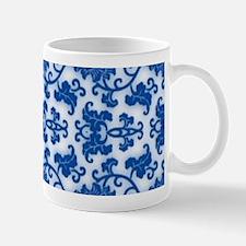 modern blue damask floral abstract pattern Mugs