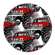 RED MONSTER TRUCK Round Car Magnet