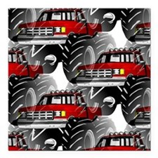"""RED MONSTER TRUCK Square Car Magnet 3"""" x 3"""""""