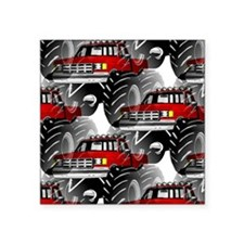 """RED MONSTER TRUCK Square Sticker 3"""" x 3"""""""