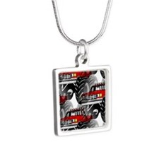 RED MONSTER TRUCK Silver Square Necklace