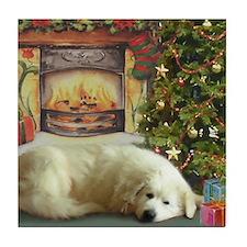 Great Pyrenees Tile Coaster, Christmas