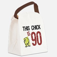 Women's Funny 90th Birthday Canvas Lunch Bag