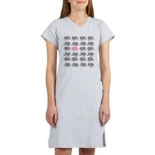 Grey and Pink Elephants Women's Nightshirt