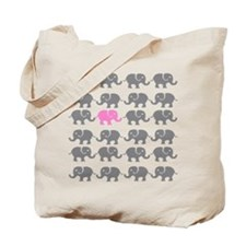 Grey and Pink Elephants Tote Bag