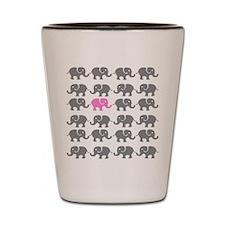Grey and Pink Elephants Shot Glass