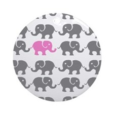 Grey and Pink Elephants Ornament (Round)