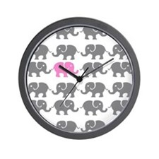 Grey and Pink Elephants Wall Clock