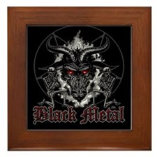 Black Metal Baphomet Pentagram Framed Tile