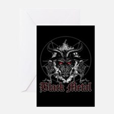 Black Metal Baphomet Pentagram Card Greeting Cards