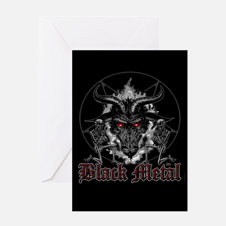 Black Metal Baphomet Pentagram Card Greeting Cards