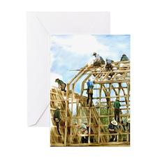 Amish Barn Raising Greeting Cards