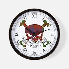 Ross Tartan Skull Wall Clock