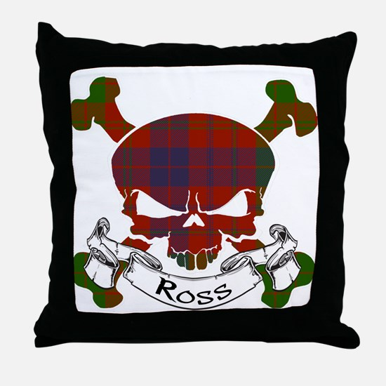 Ross Tartan Skull Throw Pillow