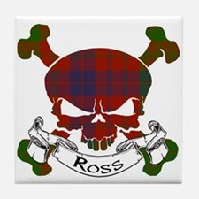 Ross Tartan Skull Tile Coaster
